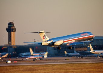 American Airlines departing from DFW airport terminal