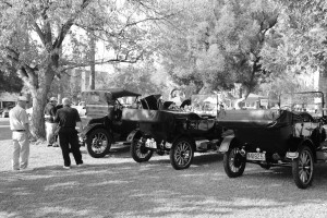 BAKERSFIELD, CA - OCT 24: Judges ponder Pierce Arrows and Ford Model Ts at the